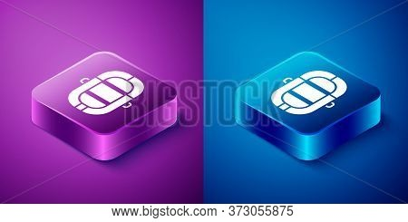 Isometric Rafting Boat Icon Isolated On Blue And Purple Background. Inflatable Boat. Water Sports, E