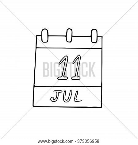 Calendar Hand Drawn In Doodle Style. July 11. World Population Day, Date. Icon, Sticker, Element, De