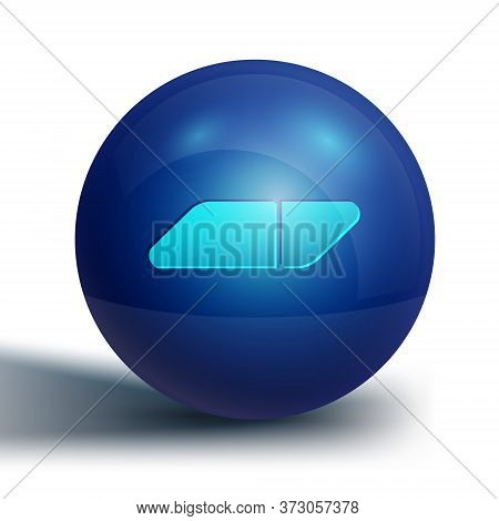 Blue Eraser Or Rubber Icon Isolated On White Background. Blue Circle Button. Vector Illustration