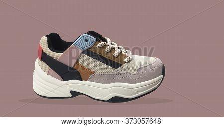 White Platform Sneakers With Bright Color Accents Pattern On Brown Background. Close View Of Fashion
