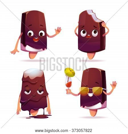 Popsicle Ice Cream Character, Funny Eskimo Pie With Kawaii Face Expressing Emotions, Say Hello, Melt