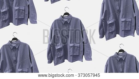 Men's Half-zip Shirts With Long Sleeves On Hanger Isolated. Banner Concept. Trendy Clothes Collage.