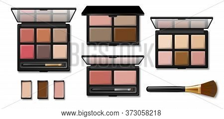 Set Of Eyeshadow Palette For Makeup. Realistic 3d Black Plastic Case With Eyeshadow And Eyebrow Brus