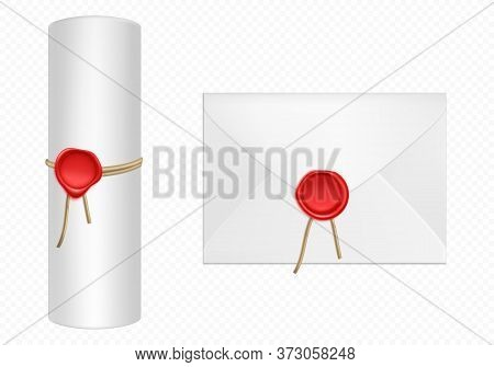 White Envelope And Scroll With Red Wax And Rope Template. Isolated Blank Closed Paper Cover And Conv