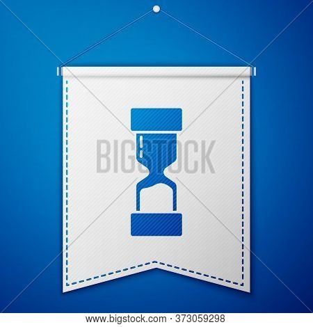 Blue Old Hourglass With Flowing Sand Icon Isolated On Blue Background. Sand Clock Sign. Business And