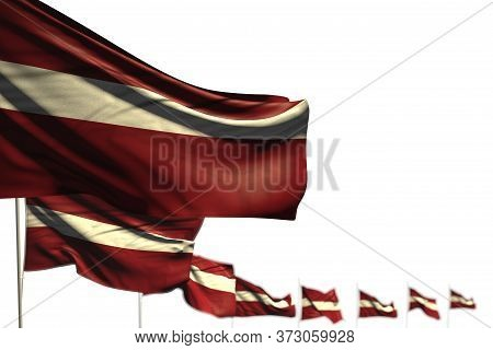 Nice Latvia Isolated Flags Placed Diagonal, Photo With Soft Focus And Place For Text - Any Occasion