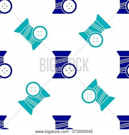 Blue Sewing Thread On Spool And Button Icon Isolated Seamless Pattern On White Background. Yarn Spoo