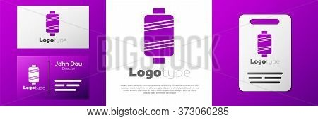 Logotype Sewing Thread On Spool Icon Isolated On White Background. Yarn Spool. Thread Bobbin. Logo D