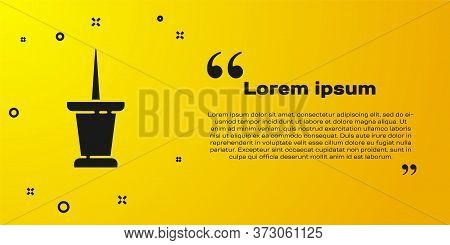 Black Push Pin Icon Isolated On Yellow Background. Thumbtacks Sign. Vector Illustration
