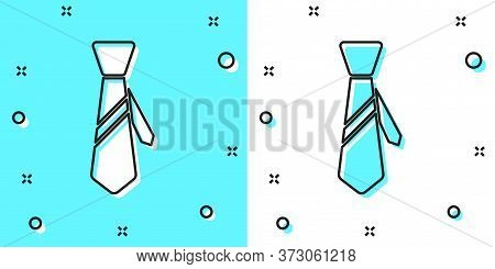 Black Line Tie Icon Isolated On Green And White Background. Necktie And Neckcloth Symbol. Random Dyn