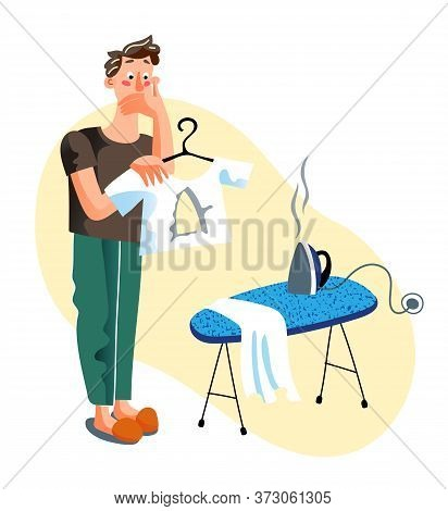 Man Making Hole In T-shirt During Ironing On Board At Home Cartoon. Shocked Upset Househusband And T