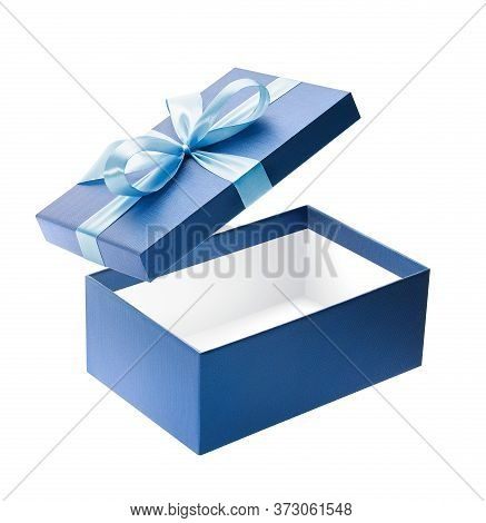 Blue Color Open Gift Box Isolated On White Background
