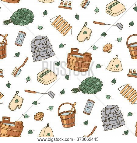 Bathhouse And Sauna Accessories - Washer, Broom, Tub, Bucket, Potholders, Stones And Other. Hand Dra