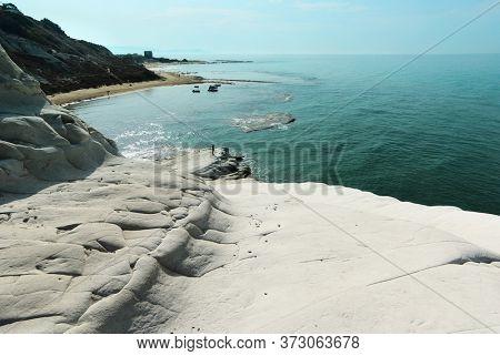 turquoise sea and white coast Sicily summer touristic natural landmark