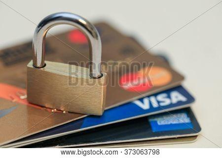 Tel-aviv, Israel - January 26, 2020: Credit Card Secure. Visa, Mastercard And American Express.