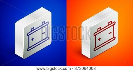 Isometric Line Car Battery Icon Isolated On Blue And Orange Background. Accumulator Battery Energy P