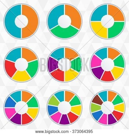 Wheel Infographics Template. Pie Chart Set With 2,3,4,5,6,7,8,9 And 10 Parts Or Sections. Circle Dia