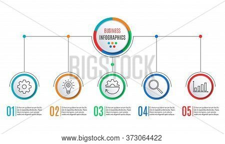 5 Steps Infographics For Business Presentation. Circle Infographic Template With 5 Options, Levels,
