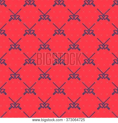 Blue Line Fencing Icon Isolated Seamless Pattern On Red Background. Sport Equipment. Vector Illustra