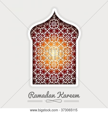 Ramadan Kareem White Mosque Window Geometric Pattern. Vector 3d Muslim Paper Graphics. Arabic Islami
