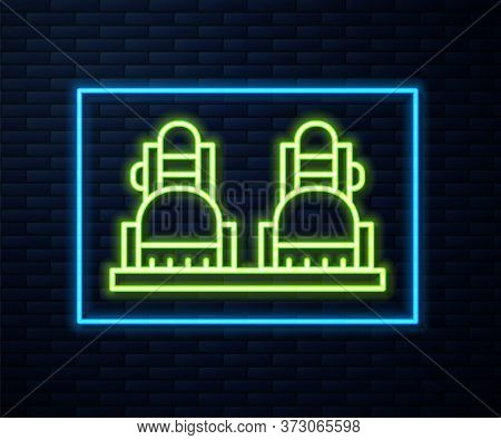 Glowing Neon Line Snowboard Icon Isolated On Brick Wall Background. Snowboarding Board Icon. Extreme