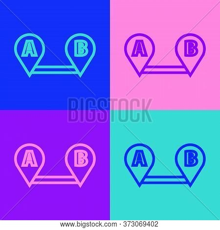Pop Art Line Route Location Icon Isolated On Color Background. Map Pointer Sign. Concept Of Path Or