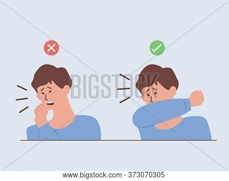 Man Showing The Way To Coughing And Sneezing Correctly And Incorrectly When You Don't Wear A Mask, S