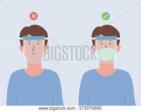 Correct And Wrong Way To Using A Plastic Face Shield To Prevent Viruses. Wear A Face Shield Pair Wit