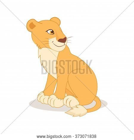 Cartoon Cute Happy Lioness Sitting On The White Background. Kind Girl Vector Illustration. Lioness A