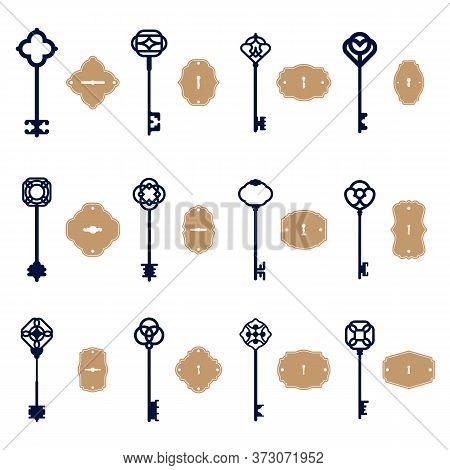 Various Vintage Keys And Keyholes Set. Sketch Of Elegant Decorative Old And Modern Keyways Isolated