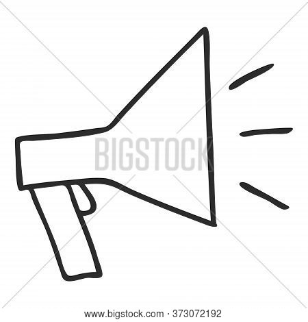 A Doodle-style Mouthpiece. A Symbol Of Gossip, Spreading Knowledge, And Information. A Simple Black