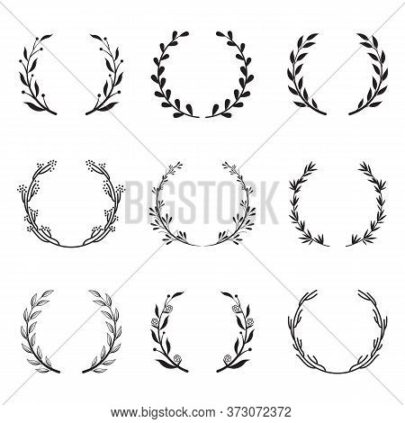 Various Round Floral And Laurel Frames Set. Branch Wreathes, Olive Branches And Leaf Elements Isolat