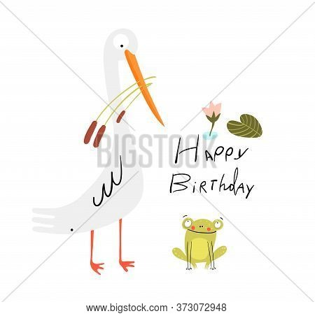 Funny Cute Birthday Card With White Swamp Bird And Baby Frog In The Lake, Cute Smiling Animals For C