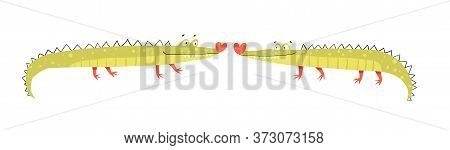 Funny Cute Amusing And Silly Crocodiles Couple In Love Kissing. Character Design, Cute Smiling Happy