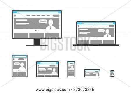 Responsive Adaptive Web Design Template Set. Website On Different Devices. Desktop Monitor, Laptop,