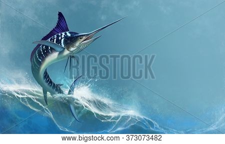 Striped Marlin On Sea, Fish Sword. Realistic Isolated Illustration. Fish Sailboat Is A Fast Predator
