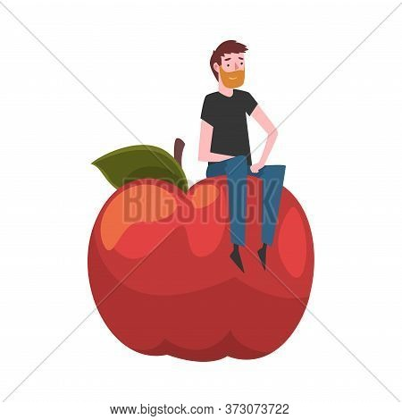 Young Man Sitting On Giant Apple, Male Farmer Character With Natural Organic Fruit Vector Illustrati