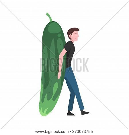 Young Man Carrying Big Cucumber, Male Farmer Character With Natural Organic Vegetable Vector Illustr
