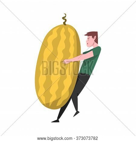 Young Man Carrying Big Ripe Melon, Male Farmer Character With Natural Organic Fruit Vector Illustrat