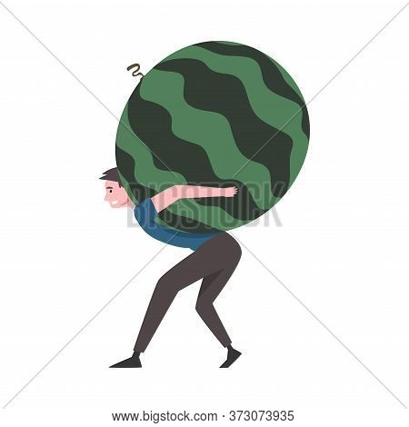 Young Man Carrying Big Ripe Heavy Watermelon, Male Farmer Character With Natural Organic Fruit Vecto