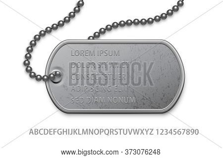 Metallic Silver Badge Military With Chain And Editable Text Template. Dog Tag On Lace. Detailed Elem