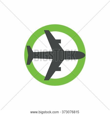 Airplane Icon In Green Circle. Open Sky Logo Concept, Permission To Fly Symbol, Resumption Of Air Tr