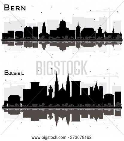 Basel and Bern Switzerland City Skylines Silhouette Set with Black Buildings and Reflections Isolated on White.