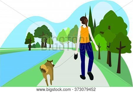 Young Woman Dog Leash Strolling In The Park With Rivers And Hand Carrying A Bag To Keep Dog Feces.