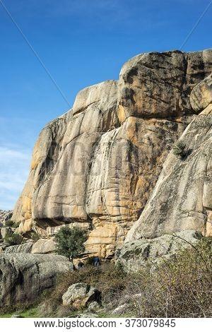 Manzanares El Real - December 8, 2016: Rock Climbers Preparing The Climbing To The El Indio, The Ind