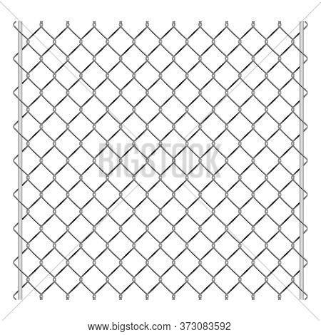 Metal Grid Palisade Fence Design Vector Illustration