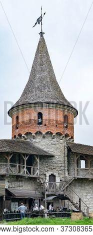 Kamianets-podilskyi, Chernivtsi Oblast / Ukraine - 06.14.2020: Defensive Tower And Covered Walkways
