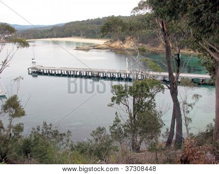 Old timber wharf and beaches, Twofold Bay, NSW