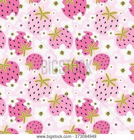 Hand Drawn Berries And Strawberry Flowers On A Pink Background. Summer Romantic Background Of Sweet