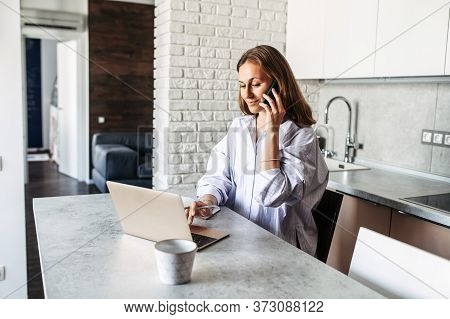 Responsible Woman Answers Phone Calls, Takes Online Orders From Store Intranet Working Remotely From